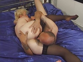 elderly inside nylons toyed and banged