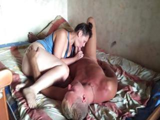 heavy brunette wife gives him head and then