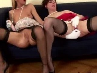 grownup english lesbo inside nylons puts sex toy