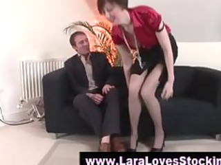 nylons cougar lady into high heels