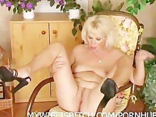 pushing dildo mature