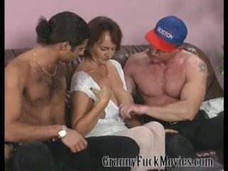 elderly with firm breast banging two
