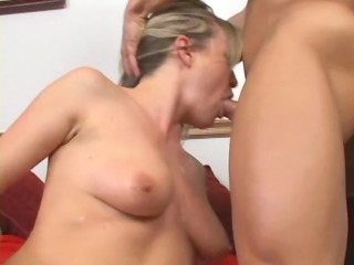 blond lady has fuck in thigh high nylons