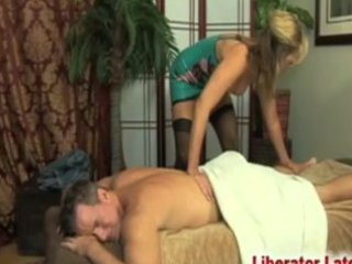 "guy""massaged"" by milf inside latex"