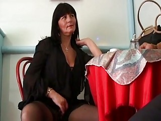 busty grownup brunette seduces cu...