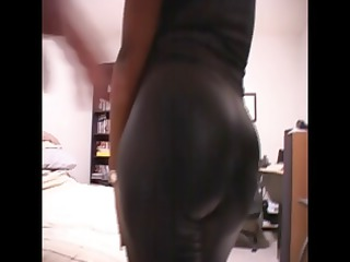 black mom dressed inside latex gets exposed to