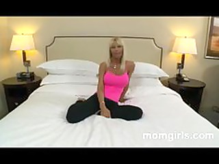 slutty bleached milf in pink top licks and