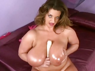 jumbo boobed oiled lady devices her hungry plump