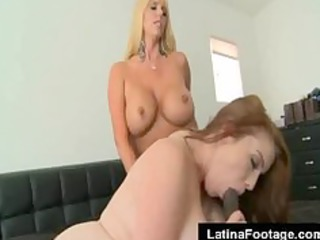 two horny blonde woman gang bang a giant brown