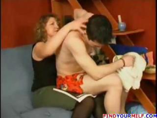 plump older  blond and guy go at it and she blows