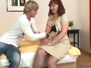 granny inside pantyhose takes screwed