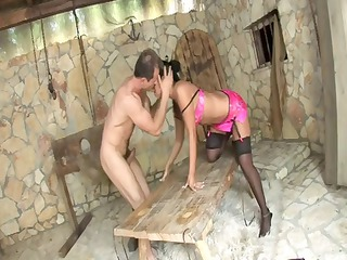 inside a dungeon, awesome brunette lady angelica