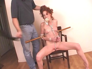 redhead lady bound with rope and her undies