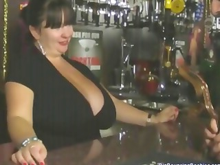 fat european cougar barmaid with giant breast