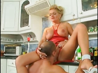 german lady banged inside the dining room