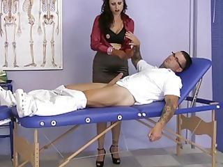 woman wearing satin gives a handjob