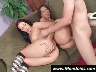 sexy brunette milf and daughter share everything,
