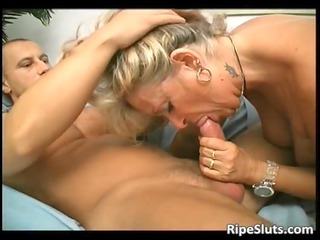 overrupe cougar blond whore takes her granny