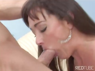 brunette mom blows and takes drilled by her sons