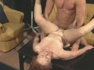 elderly susanne drains muscle man