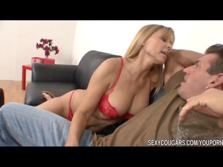 sexy cougar nailed by large penis stud