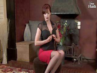 redhead mature chick inside ebony stockings hand
