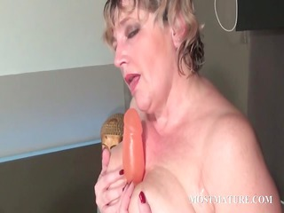 trashy mature masturbating light red whore