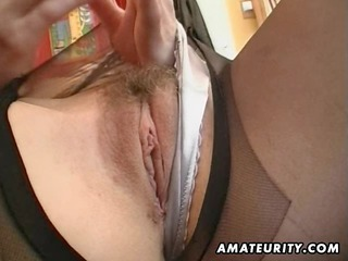 awesome young milf masturbates, sucks and bangs