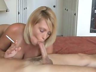 hot albino milf smoke and gives hot cock sucking