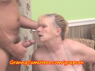 cum dump granny swills sperm at gathering